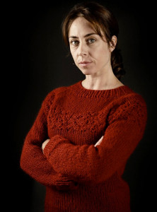 Sophie Grabol in her new knitwear